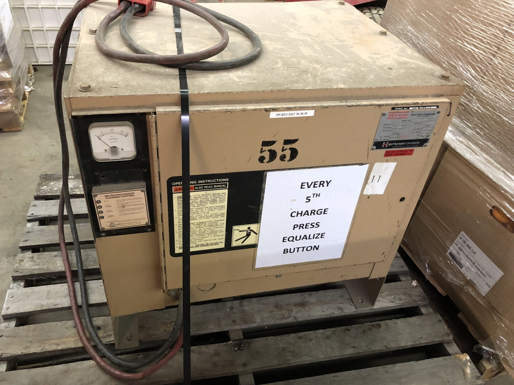 Used Crown RR3020-45-S Narrow Aisle 36V Electric Stand-Up Reach Forklift  Charger