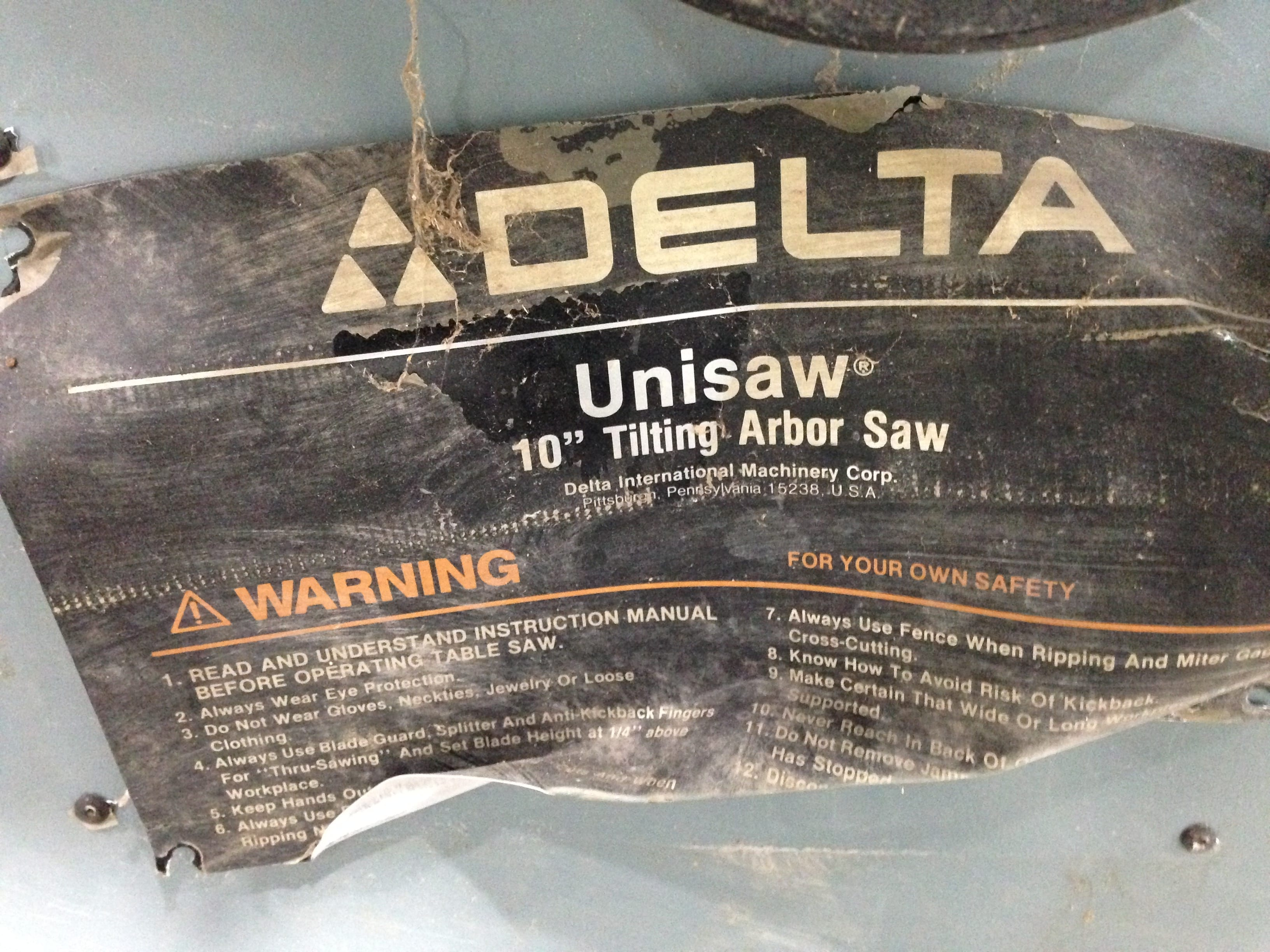 Delta Unisaw 10″ Tilting Arbor Table Saw 3475RPM 3HP 3PH w/ 36″ X 27″ Table