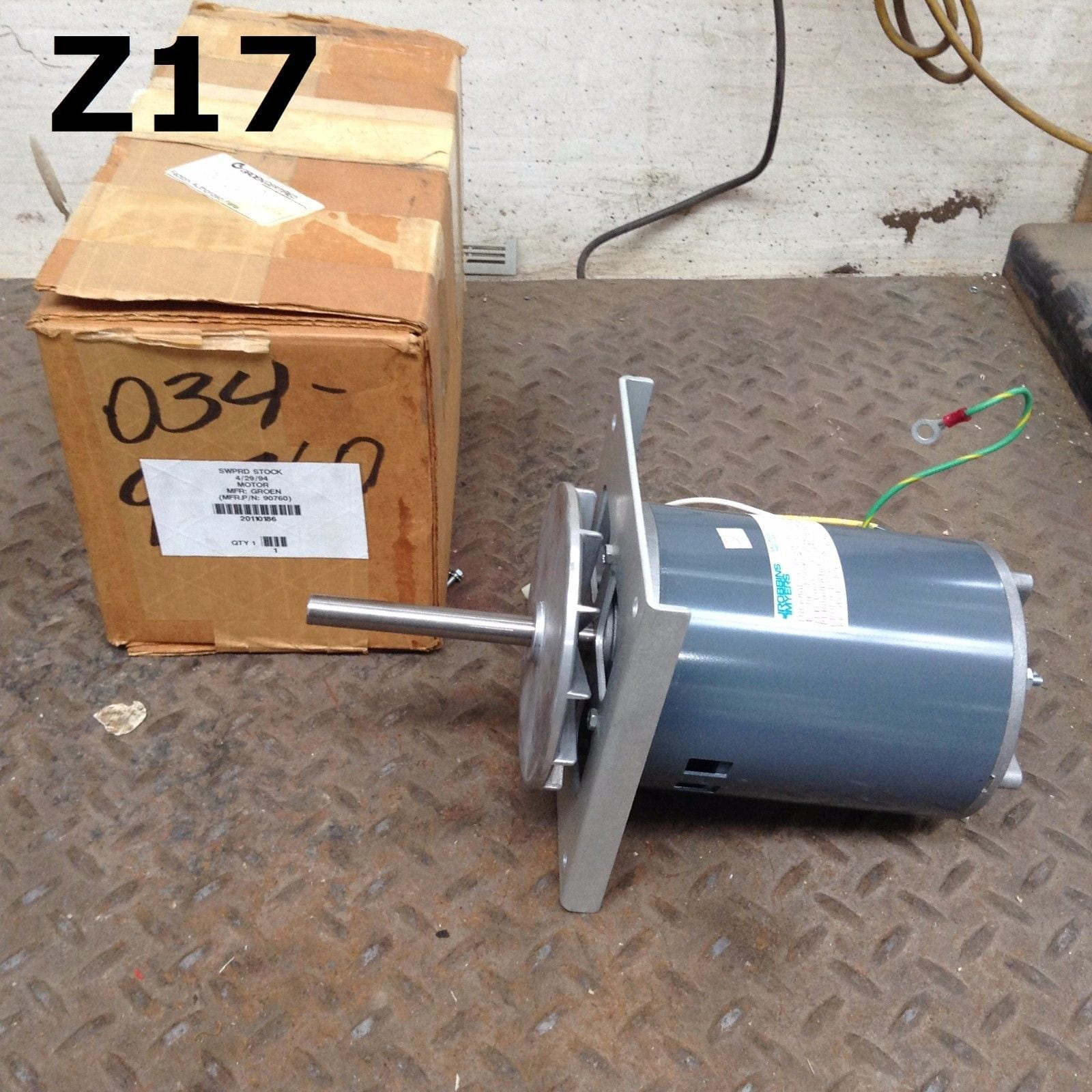 Groen robbins myers kk mx42 b0l 90760 fan motor 1 2hp for Robbins and myers replacement motors