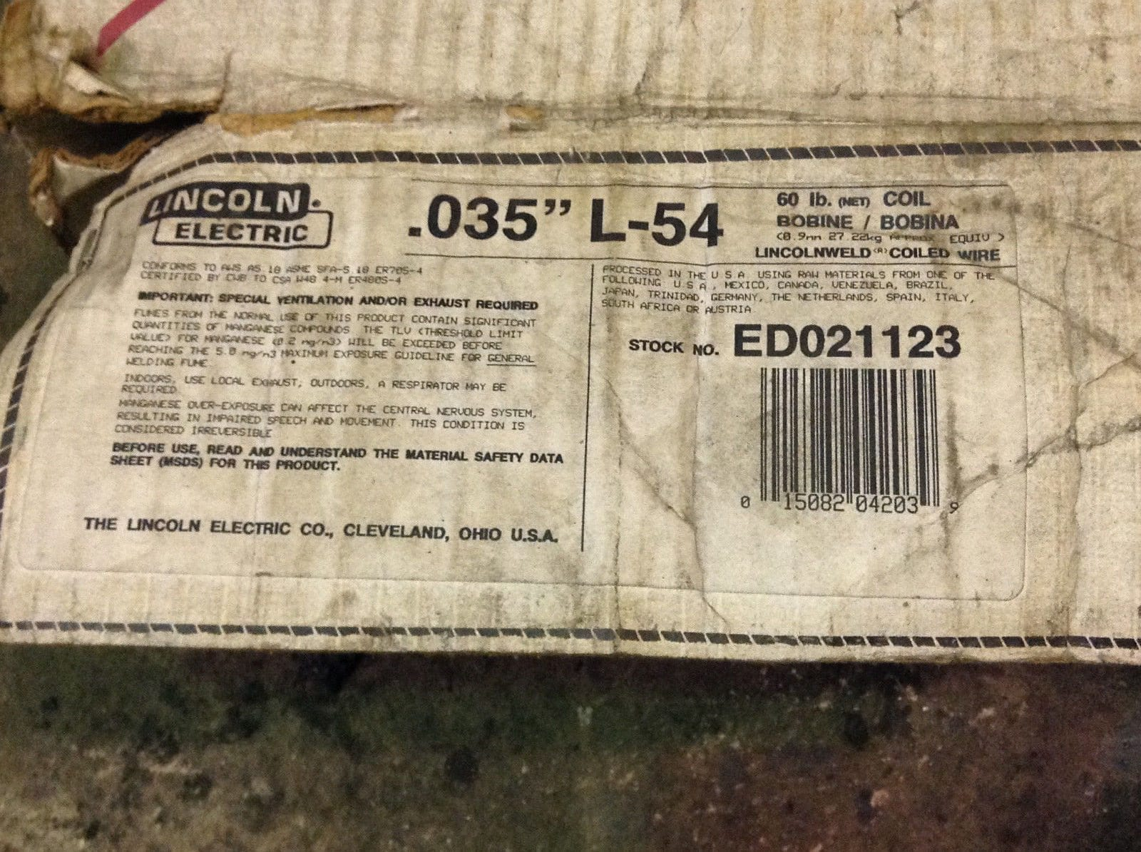 Lincoln Electric L-54 Copper-Coated Mild Steel Welding Wire 0.035 ...