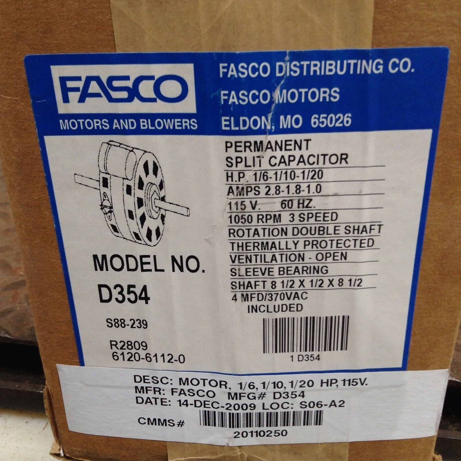 Fasco D354 Double Shaft Blower Motor 1/6-1/10-1/20HP 1050RPM 115V ...