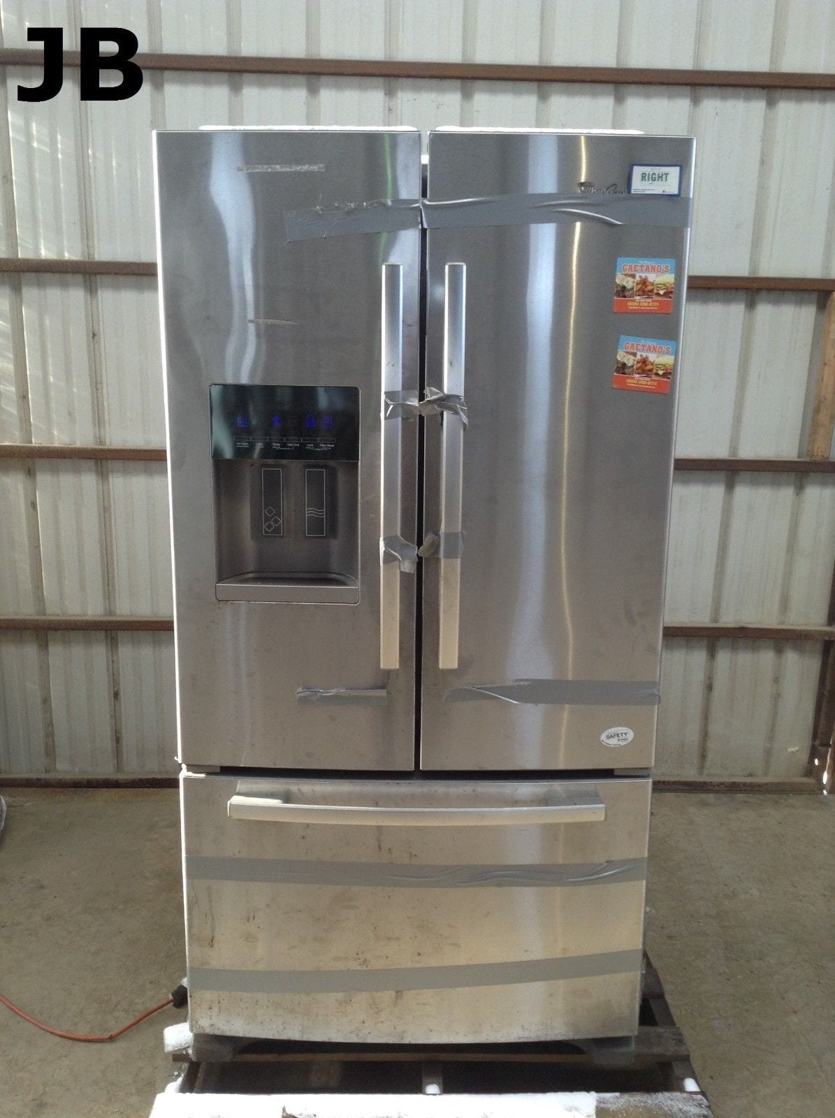 Used Whirlpool Gi6fary07 Upright French Door Stainless Steel Refrigerator