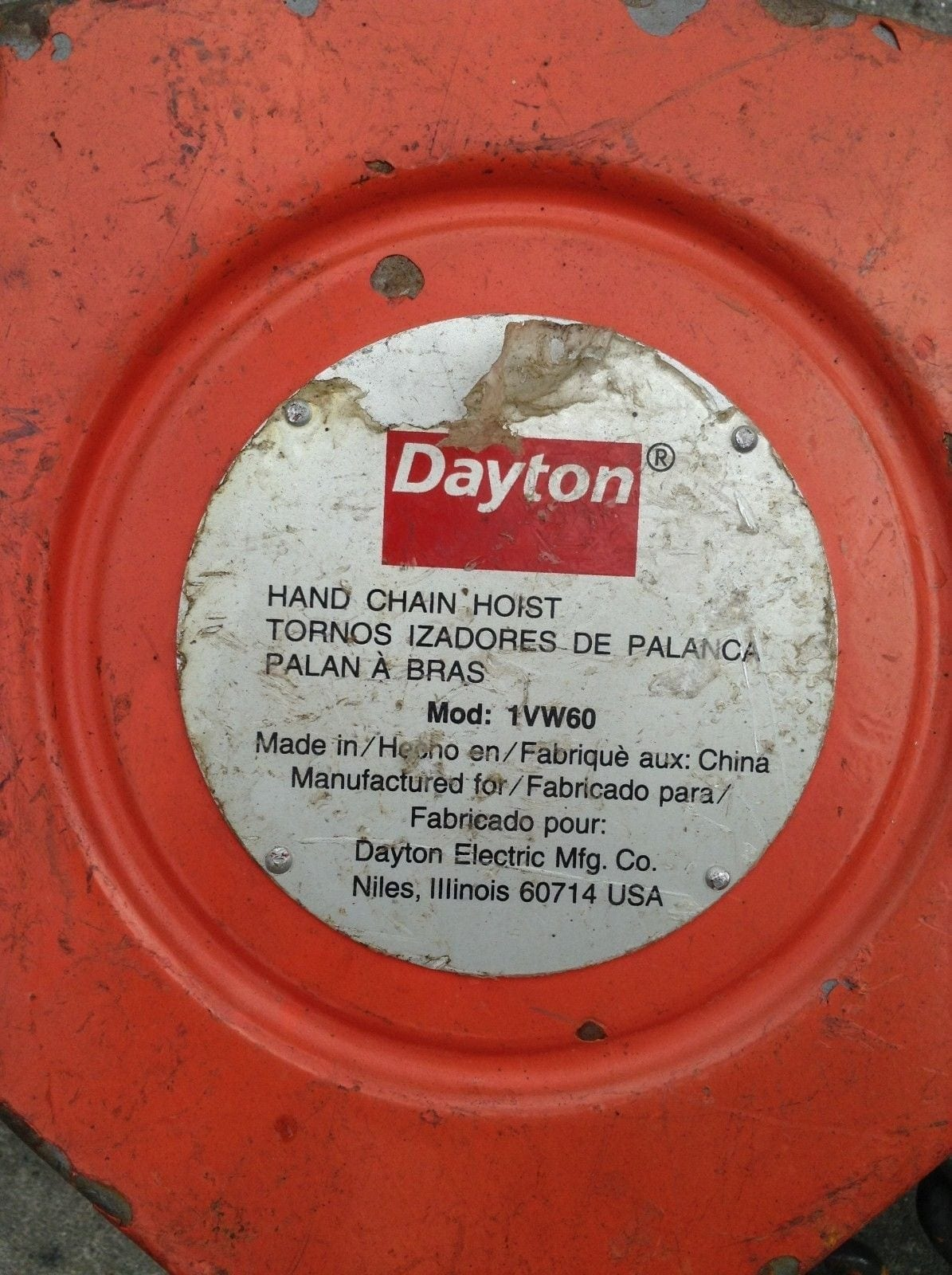 Dayton 1vw60 20ft 2 Ton Manual Hand Chain Hoist Moses B Glick Electric Wiring Diagram