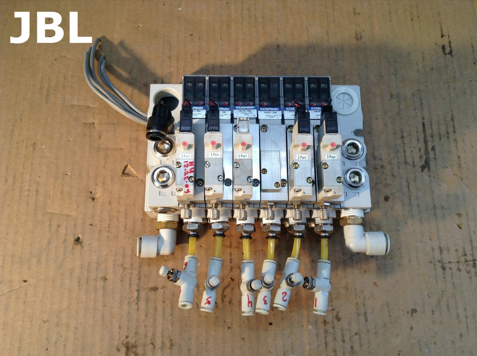 Koganei PBM6P-9W 6-Port 9-Way Solenoid Air Pneumatic Valve Manifold 24VDC