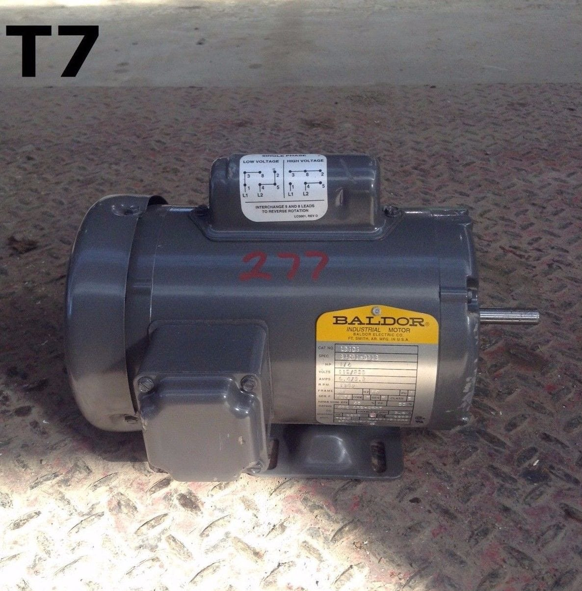 Baldor L3404 Steel 1 4hp Electric Motor 1140rpm 115 230v 1ph Motors