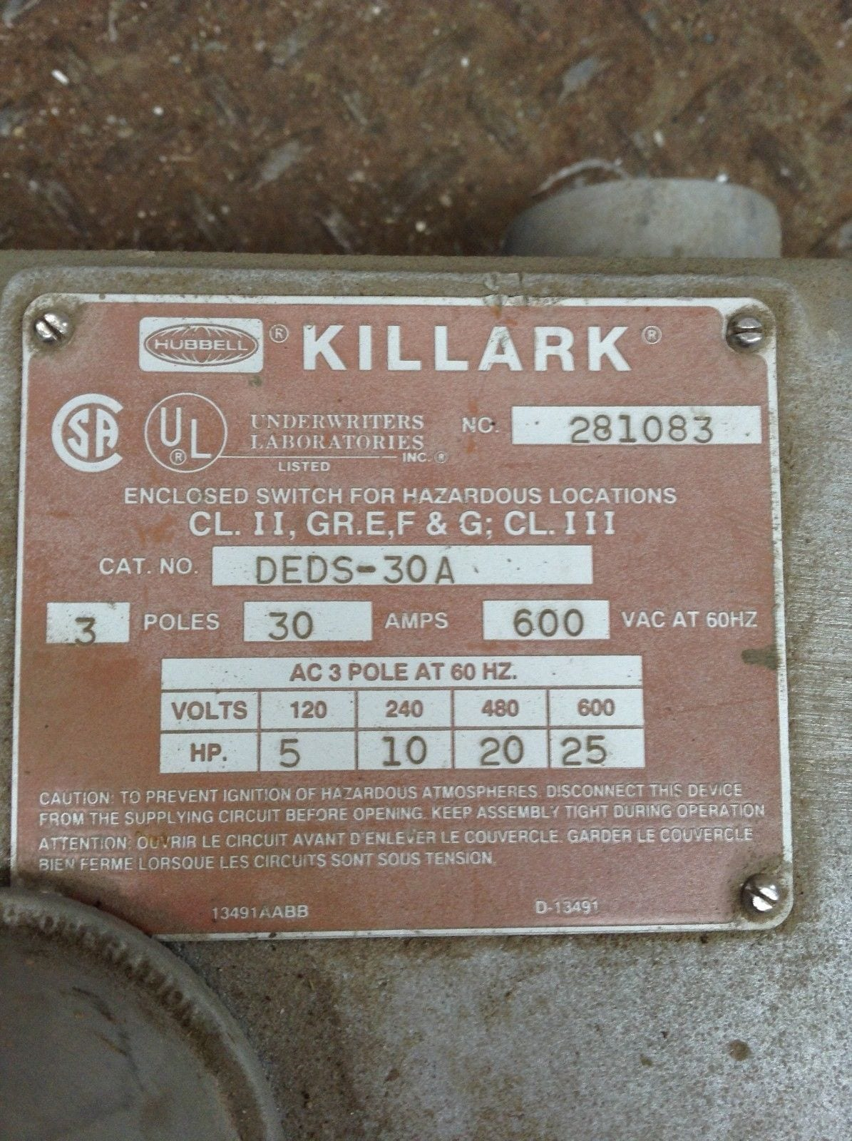 Killark DEDS-30A 3 Pole 30A Explosion Proof Non-Fusible Disconnect Switch  600V