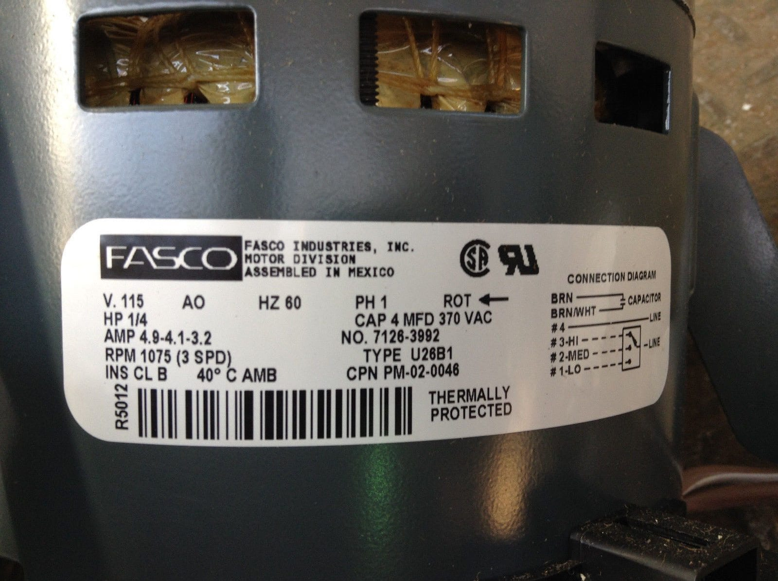 Fasco 7126-3992 Electric Motor 1/4HP 1075RPM 115V 1PH 1/2\